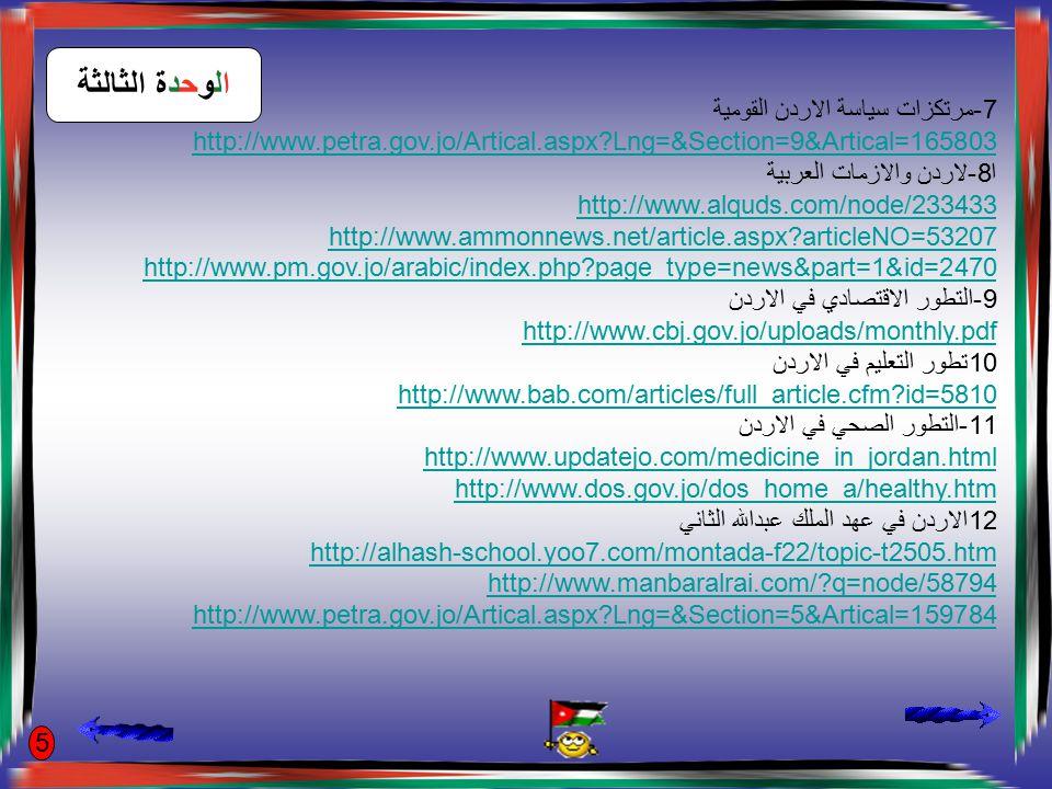 الوحدة الرابعة 1-معنى الدستور http://www.tashreaat.com/view_studies2.asp?id=402&std_id=64 2-معنى الدولة http://www.kwtanweer.com/articles/readarticle.php?articleID=1408 3-الثقافة السياسية http://www.alghad.com/?article=16174 4-التنشئة السياسية http://alghad.com/index.php?article=2998 5-التنمية السياسية http://www.womengateway.com/arwg/e- +library/Studies/PoliticalParticipation/jordon.htm 6-القانون http://jewad.tripod.com/law#معنى%20القانون http://ahmedelgamel.maktoobblog.com/692419/%D9%85%D8%B9%D9% 86%D9%89- %D8%A7%D9%84%D9%82%D8%A7%D9%86%D9%88%D9%86/ 6