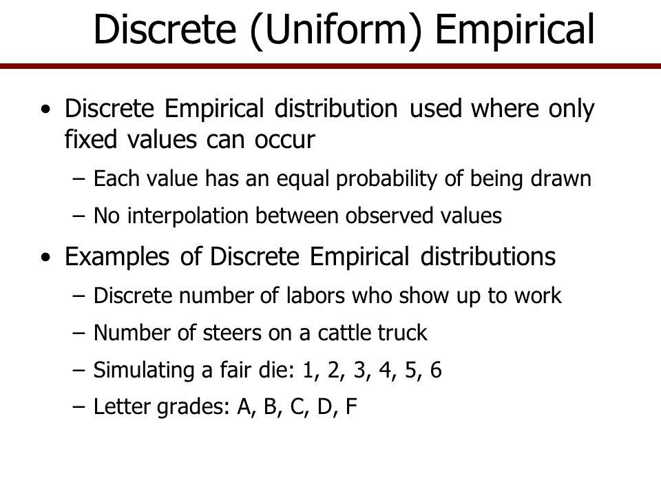 4X PDF for DE(3, 4, 6, 7) 367 CDF for DE(3, 4, 6, 7) 4X367 0.25.5.75 1 PDF and CDF for a Discrete Uniform Distribution.