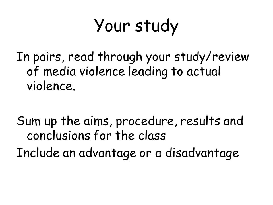 Media influence research – does tv/film violence lead to actual violence.