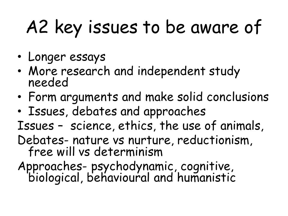 A' level Psychology – assessment criteria Ao1 – knowledge (description of a theory) Ao2 – application (applying the theory to an unfamiliar setting, using research to support/contradict a theory, using other examples such as those from the news/media) and evaluation (pros and cons for theories and research) Ao3 – links to science, use of IDA, conclusions
