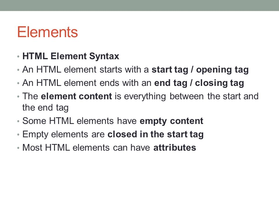 Nested elements Nested HTML Elements Most HTML elements can be nested (can contain other HTML elements).