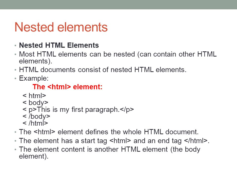 Attribute HTML Attributes HTML elements can have attributes Attributes provide additional information about an element Attributes are always specified in the start tag Attributes come in name/value pairs like: name= value Attribute Example HTML links are defined with the tag.