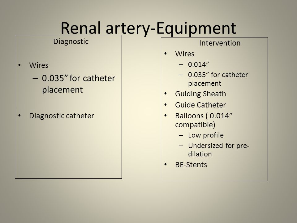 Reanal artery stenting 1.Catheter or sheath placement 2.