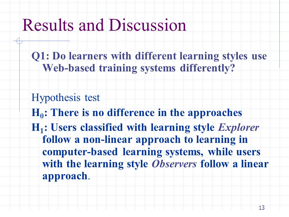 14 Results and Discussion Q2: Should the previous hypotheses be supported, does this (non- linear or linear movement) have an effect on the amount of learning that takes place.