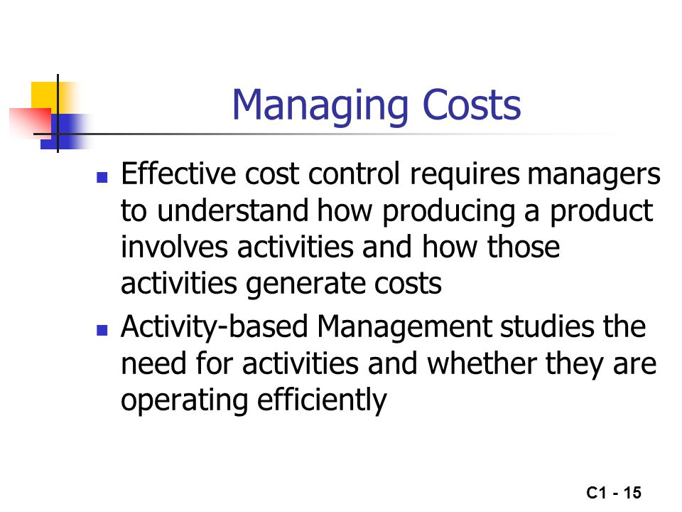 C1 - 16 Value-Added Activities Value-added activities increase the product's service to customers Manager's try to eliminate non-value-added activities to reduce costs without reducing the product's service potential to customers The value chain describes the linked set of activities that add value to the products or services of the organization