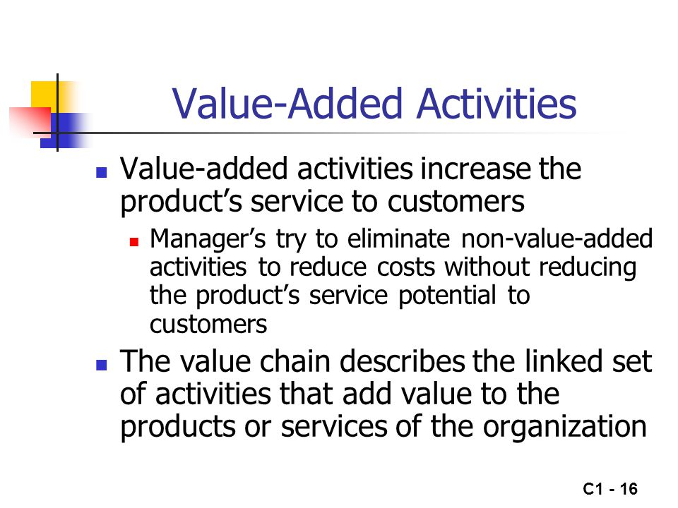 C1 - 17 The Value Chain Research & Development Design Production Marketing Distribution Begin Value Chain End Value Chain