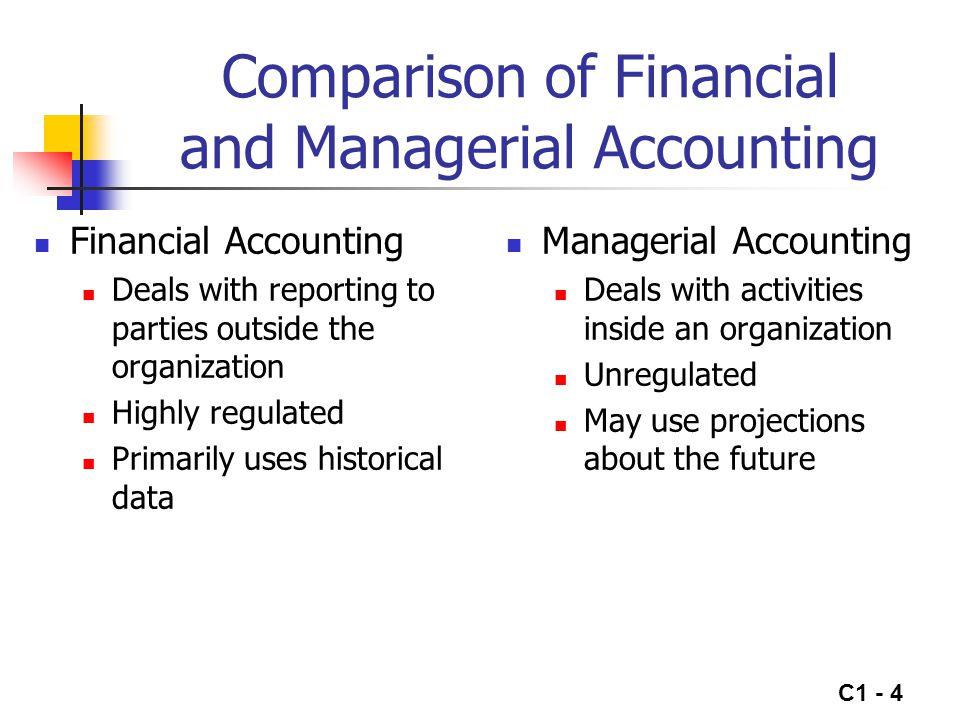 C1 - 5 Implementing Strategies Managerial accounting system should help managers implement organization's strategy System must be adapted to each organization's objectives, strategy and environment Information required for decision making, planning, and other managerial activities often is not provided by the financial accounting system