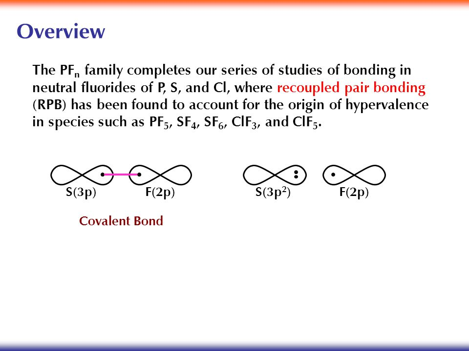 Overview The PF n family completes our series of studies of bonding in neutral fluorides of P, S, and Cl, where recoupled pair bonding (RPB) has been found to account for the origin of hypervalence in species such as PF 5, SF 4, SF 6, ClF 3, and ClF 5.
