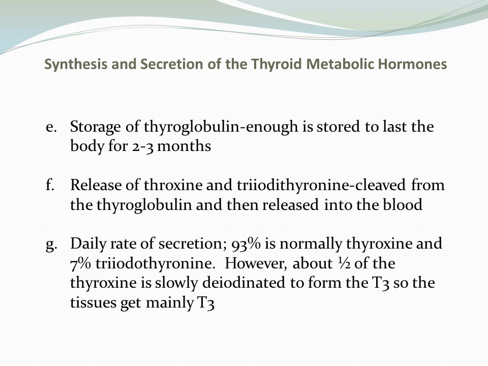 Synthesis and Secretion of the Thyroid Metabolic Hormones h.Thyroxine and triodothyronine are transported bound to plasma proteins i.Because of the high affinity to the plasma proteins, the hormone is released very slowly j.Thyroid hormones have slow onset and long duration of action