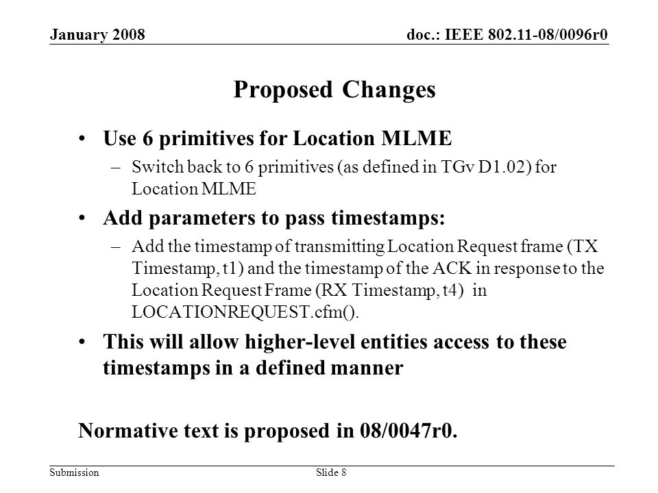 doc.: IEEE 802.11-08/0096r0 Submission January 2008 Slide 9 Thank You! & Questions?