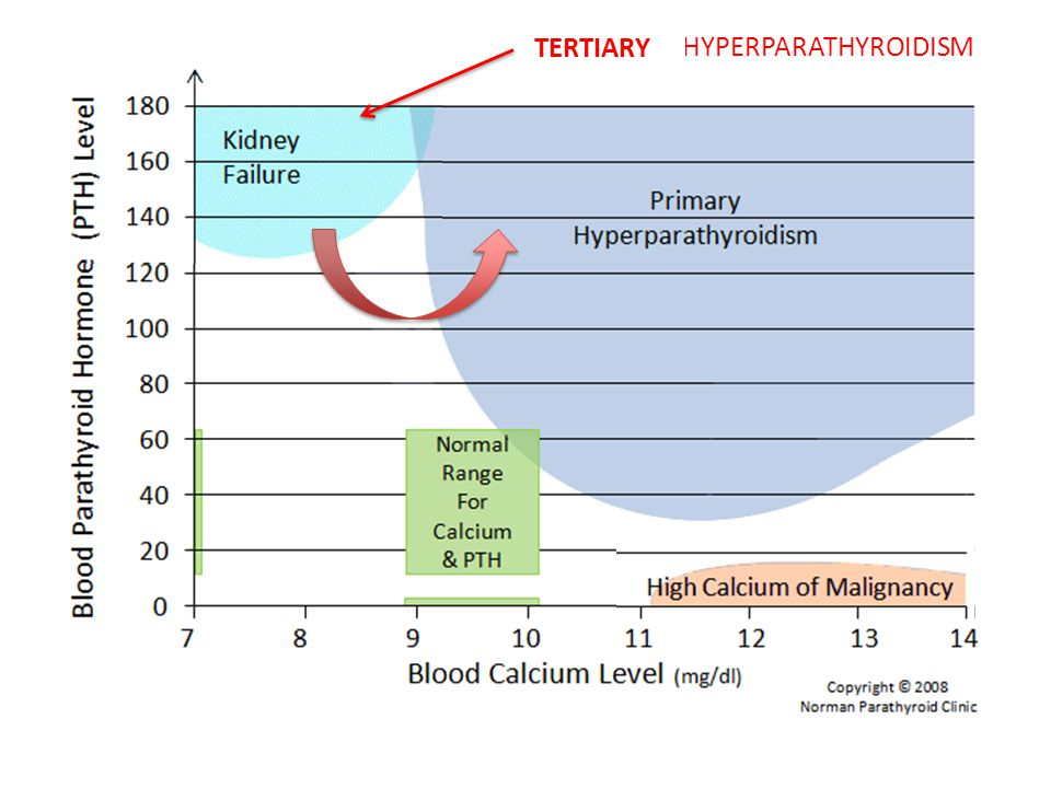 Vitamin D deficiency  low/normal calcium, slightly raised PTH but never enough to cause hypercalcaemia