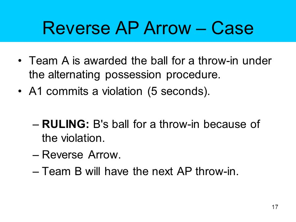 Reverse AP Arrow – Case Team A is awarded the ball for a throw-in under the alternating possession procedure.