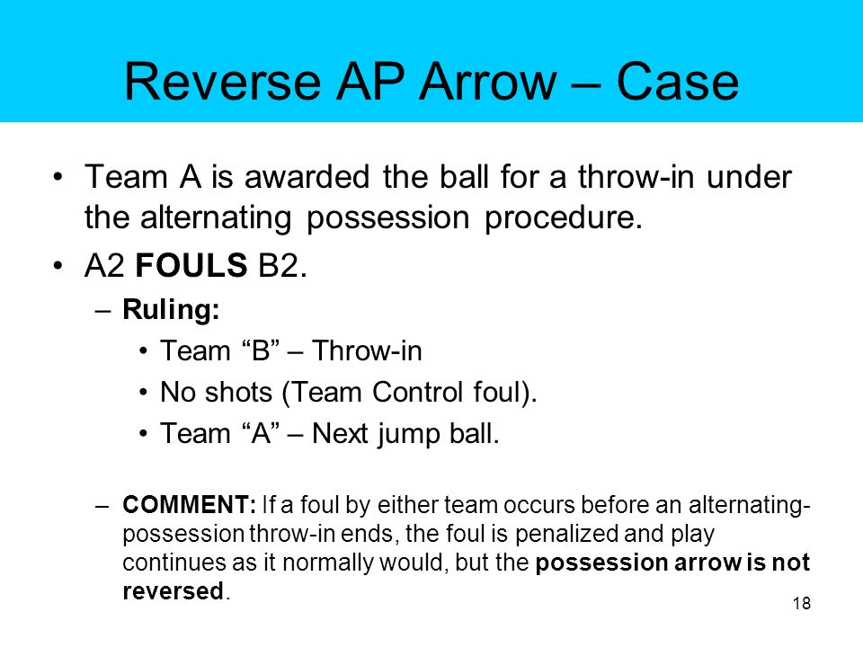 Reverse AP Arrow – Case Team A is awarded an alternating-possession throw-in.