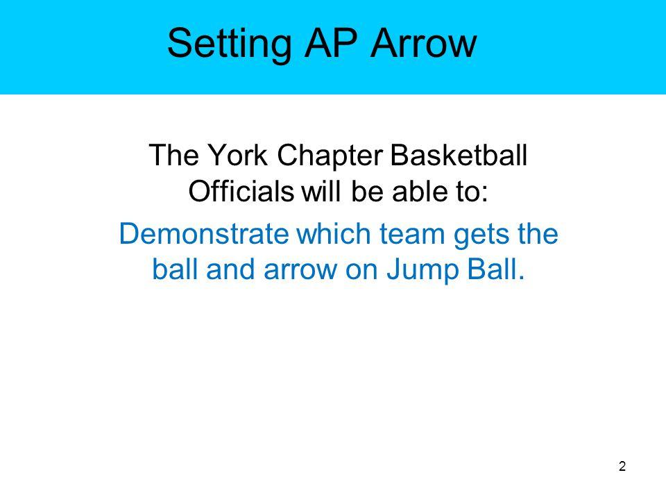 Setting AP Arrow Team obtains control –Arrow is set toward the opponent s basket.
