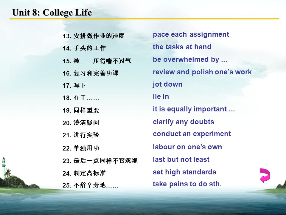 Unit 8: College Life 13.安排做作业的速度 pace each assignment 14.