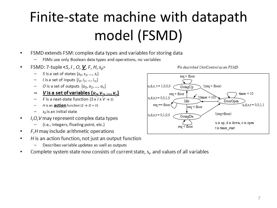 8 Describing a system as a state machine 1.List all possible states 2.