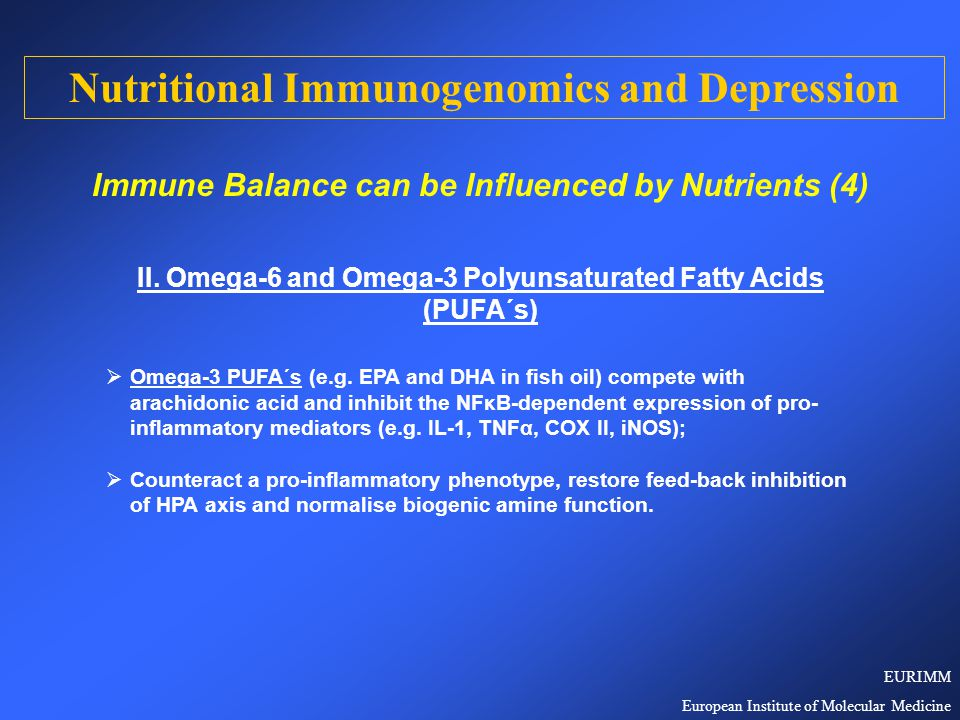  Combining anti-oxidant and omega-3 strategies to improve the disturbed immune balance and HPA axis feed-back inhibition in depressed patients will lead to an evidence-based extension of the therapeutic and preventive repertoire for the treatment of depression and probably of PNI disorders in general.