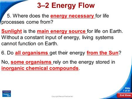 End Show Slide 1 of 41 Copyright Pearson Prentice Hall 3–2 Energy Flow 5. Where does the energy necessary for life processes come from? Sunlight is the.