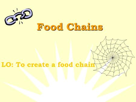 Food Chains LO: To create a food chain What is a Food Chain?  A food chain is the path by which energy passes from one living thing to another.