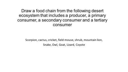 Draw a food chain from the following desert ecosystem that includes a producer, a primary consumer, a secondary consumer and a tertiary consumer Scorpion,