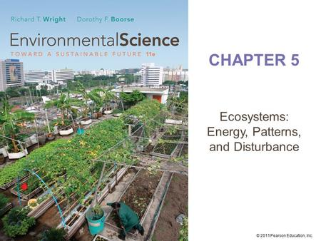 © 2011 Pearson Education, Inc. CHAPTER 5 <strong>Ecosystems</strong>: Energy, Patterns, <strong>and</strong> Disturbance.