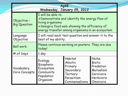 AgSE Wednesday, January 25, 2012 Objective - Big Question I will be able to:  Demonstrate and identify the energy flow of living organisms  Design a.