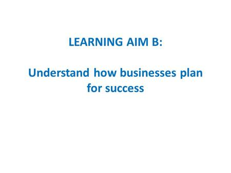 LEARNING AIM B: Understand how businesses plan for success.