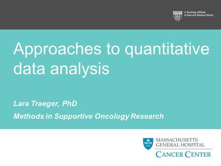 Approaches to quantitative data analysis Lara Traeger, PhD Methods in Supportive Oncology Research.