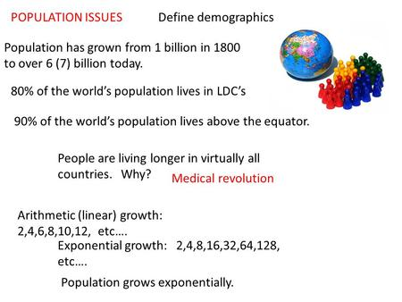 POPULATION ISSUES Population has grown from 1 billion in 1800 to over 6 (7) billion today. 80% of the world's population lives in LDC's 90% of the world's.