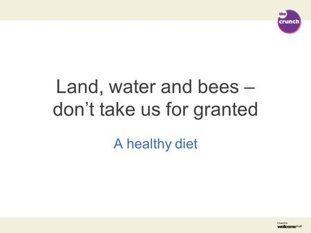 Land, water and bees – don't take us for granted A healthy diet.