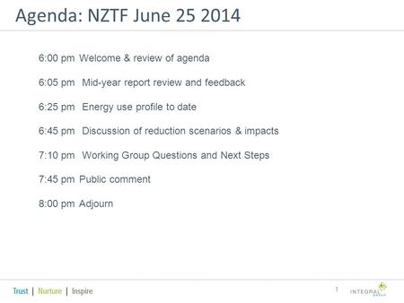 Agenda: NZTF June 25 2014 1 6:00 pm Welcome & review of agenda 6:05 pm Mid-year report review and feedback 6:25 pm Energy use profile to date 6:45 pm Discussion.
