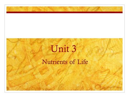 Nutrients of Life Unit 3. Key Questions 1. Why do organisms need/use nutrients? 2. What are organic vs. inorganic compounds? 3. What are some characteristics.