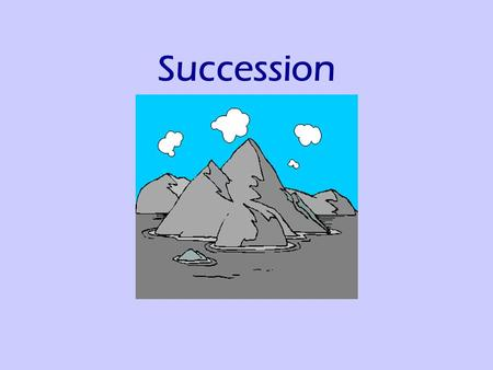 Succession. A process by which communities of plants and animals colonise an area and then, over time, are replaced by other, more varied organisms.
