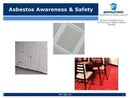 Asbestos Awareness & Safety Bureau of Workers' Comp PA Training for Health & Safety (PATHS) 1PPT-002-03.