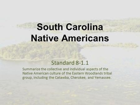 South Carolina Native Americans Standard 8-1.1 Summarize the collective and individual aspects of the Native American culture of the Eastern Woodlands.