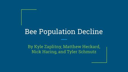 Bee Population Decline By Kyle Zaplitny, Matthew Heckard, Nick Haring, and Tyler Schmutz.