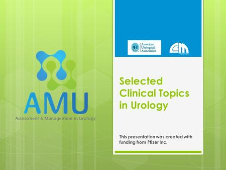 Selected Clinical Topics in Urology This presentation was created with funding from Pfizer Inc.
