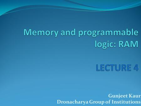 Gunjeet Kaur Dronacharya Group of Institutions. Outline I Random-Access Memory Memory Decoding Error Detection and Correction Read-Only Memory Programmable.