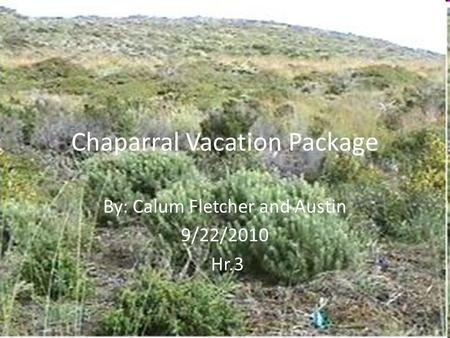 Chaparral Vacation Package By: Calum Fletcher and Austin 9/22/2010 Hr.3.