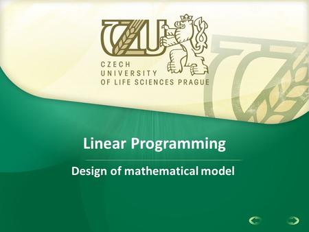 1 Linear Programming Design of mathematical model.