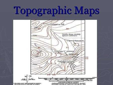 Topographic Maps. What is a Topographic Map? ► Provides information about land elevations and landforms such as mountains, hills, and depressions.