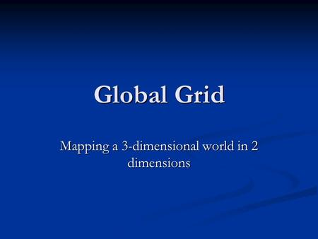 Global Grid Mapping a 3-dimensional world in 2 dimensions.