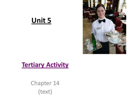 "Unit 5 Tertiary Activity Chapter 14 (text). Introduction Tertiary Activity: Involves service industries which provide services for people. People ""serving"""