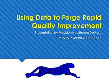 Using Data to Forge Rapid Quality Improvement Presentation by Precision Healthcare Delivery KPCA 2015 Spring Conference Presentation by Precision Healthcare.
