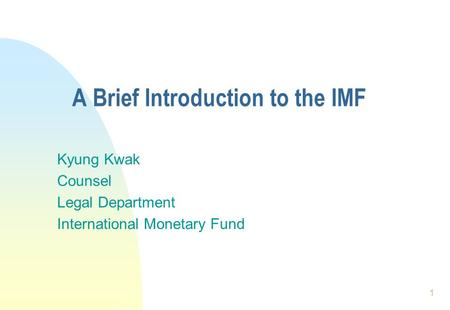A Brief Introduction to the IMF