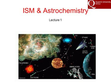 ISM & Astrochemistry Lecture 1. Interstellar Matter Comprises Gas and Dust Dust absorbs and scatters (extinguishes) starlight Top row – optical images.
