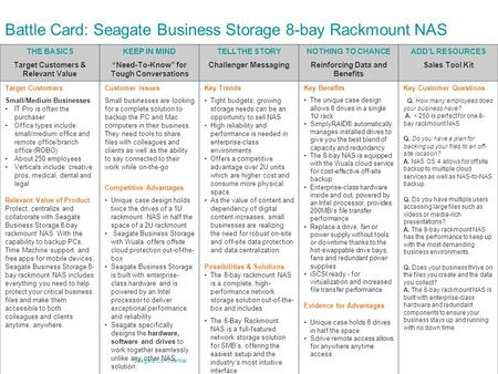 "Seagate Confidential Battle Card: Seagate Business Storage 8-bay Rackmount NAS THE BASICS Target Customers & Relevant Value KEEP IN MIND ""Need-To-Know"""