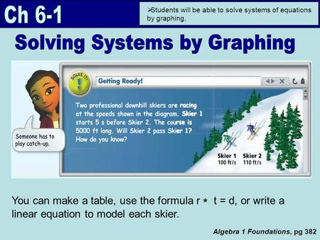 Algebra 1 Foundations, pg 382  Students will be able to solve systems of equations by graphing. You can make a table, use the formula r * t = d, or write.