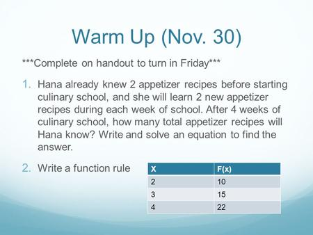 Warm Up (Nov. 30) ***Complete on handout to turn in Friday*** 1. Hana already knew 2 appetizer recipes before starting culinary school, and she will learn.
