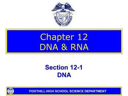 FOOTHILL HIGH SCHOOL SCIENCE DEPARTMENT Chapter 12 DNA & RNA Section 12-1 DNA.
